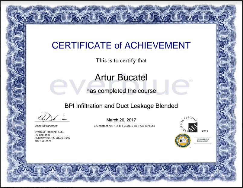 bpi certificate hvac industries