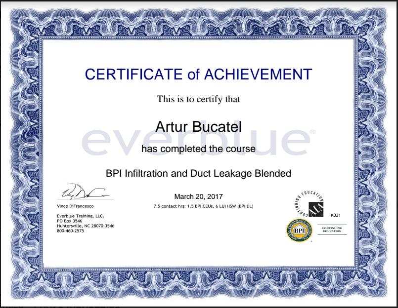 bpi certificate hvac industries