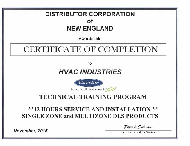 HVAC Industries Carrier Certificate