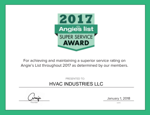 HVAC Industries has been awarded Angie's List Super Service Award for 2017