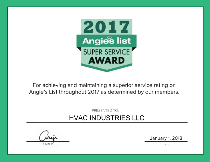 HVAC Industries has been awarded Angie's List Super Service Award